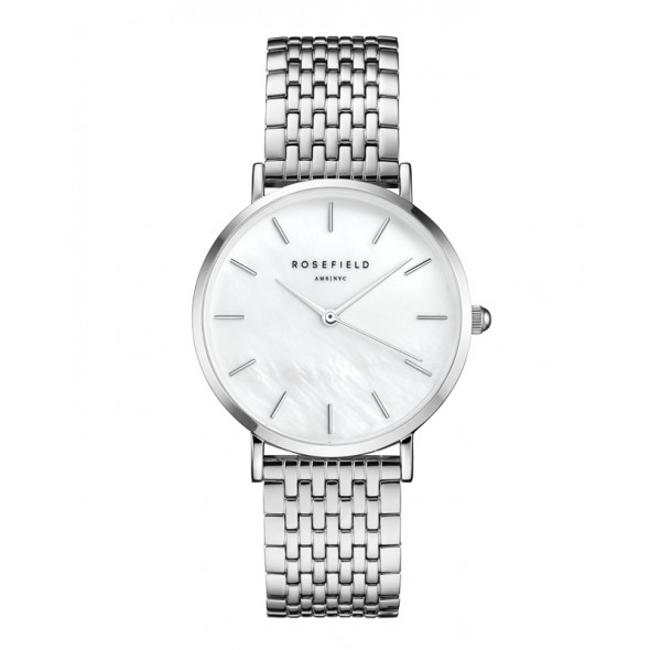 Reloj rosefield upper east side blanco plateado